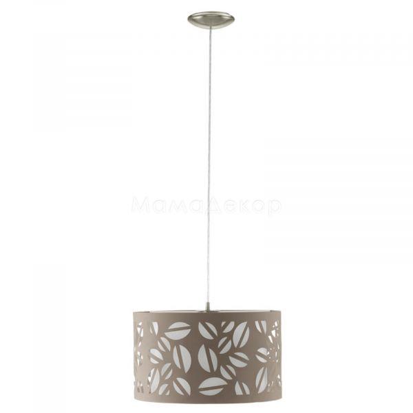 Підвісний світильник Eglo 92383 Biandra, колір плафону — сіро-коричневий, колір основи — матовий нікель