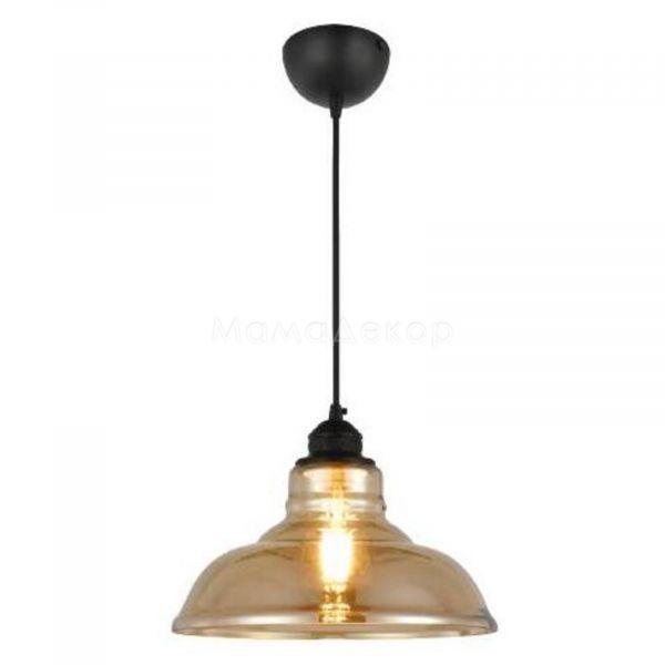 Підвісний світильник Horoz Electric 021-020-0001-020 Dream, колір плафону — бурштиновий, колір основи — чорний