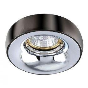 Точковий світильник Azzardo AZ1481 + AZ1484 Adamo Ring, колір плафону — чорний хром, колір основи — хром