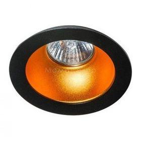 Точковий світильник Azzardo AZ1732 + AZ0824 Remo 1 Downlight, колір плафону — чорний, золото, колір основи — чорний