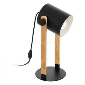 Настільна лампа Eglo 43047 Hornwood, колір плафону — чорний, кремовий, колір основи — природний, чорний