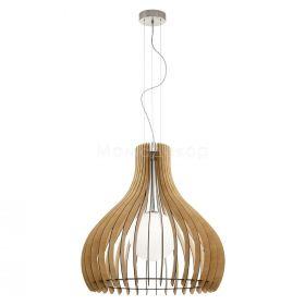 Підвісний світильник Eglo 61347 Tindori, колір плафону — кленовий, колір основи — сталевий