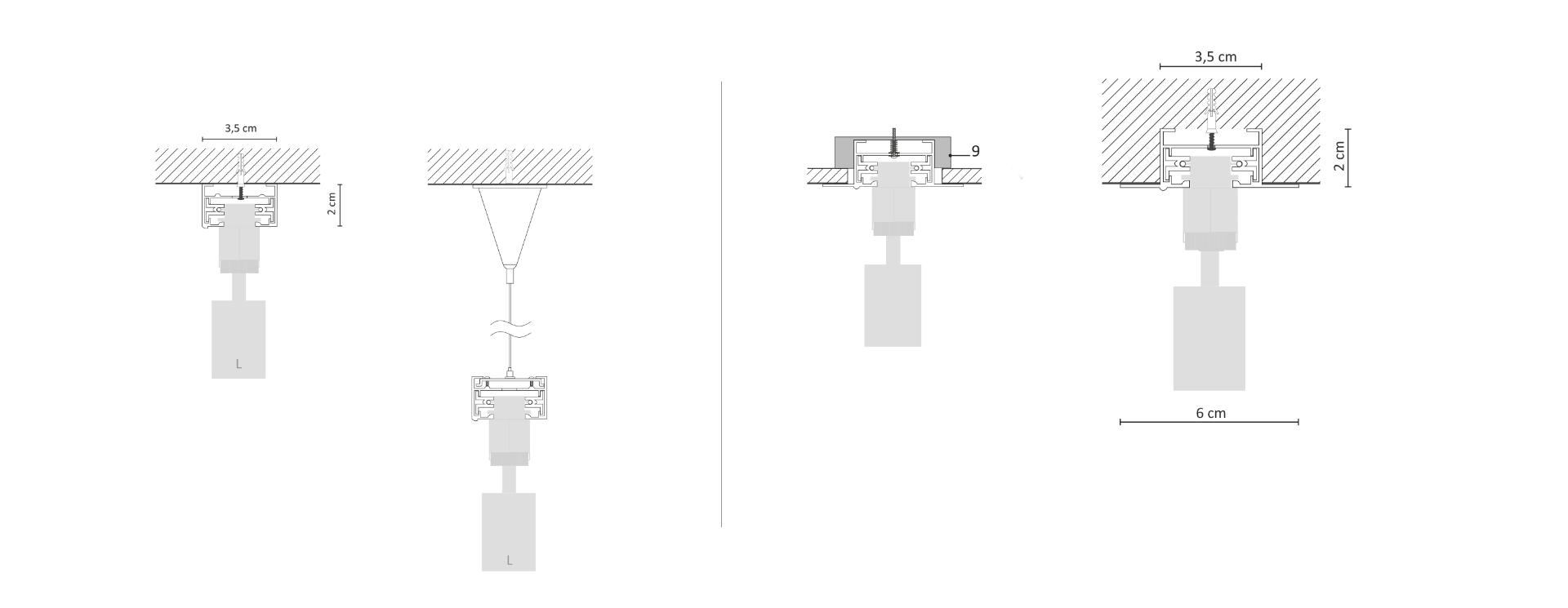 Схема установки трекової системи:  за допомогою тросових підвісів (зліва) та врізне кріплення (праворуч)